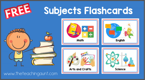 Subjects Flashcards Free Printable from The Teaching Aunt