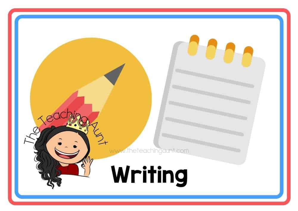 (Writing) Subjects Flashcards Free Printable from The Teaching Aunt