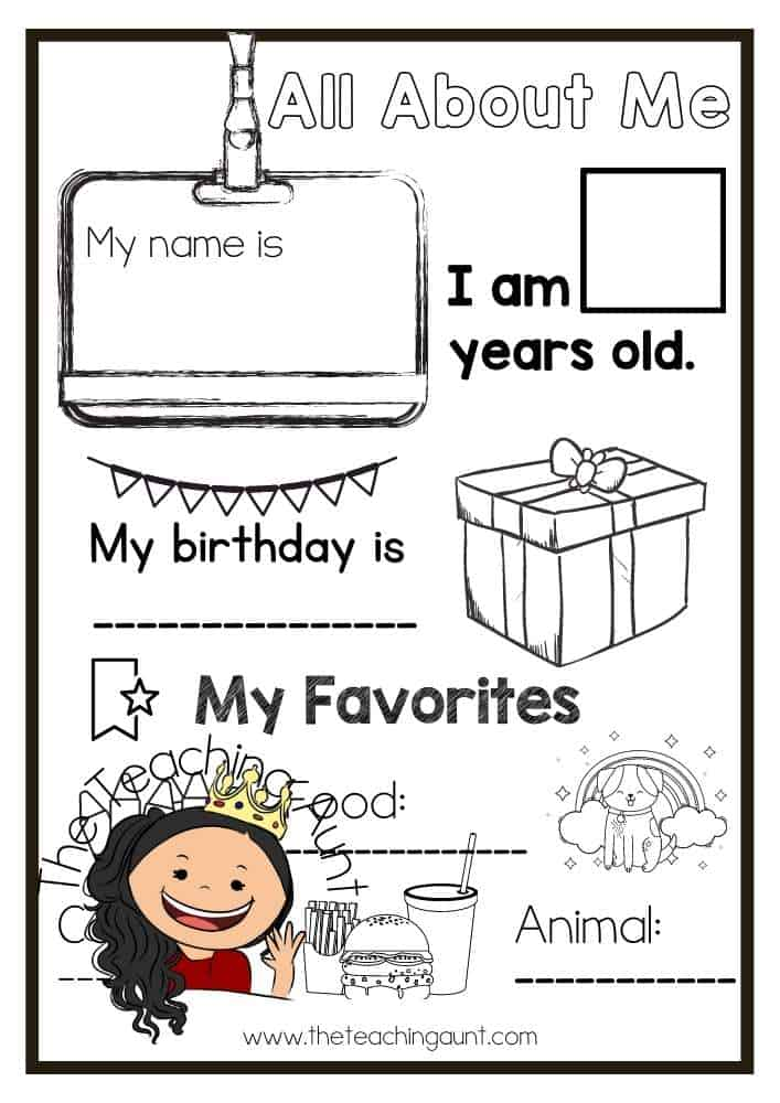 Black and White All About Me Worksheets Free Printable from The Teaching Aunt