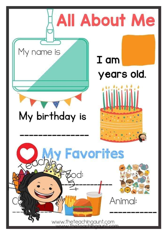 Colourful All About Me Worksheets Free Printable from The Teaching Aunt