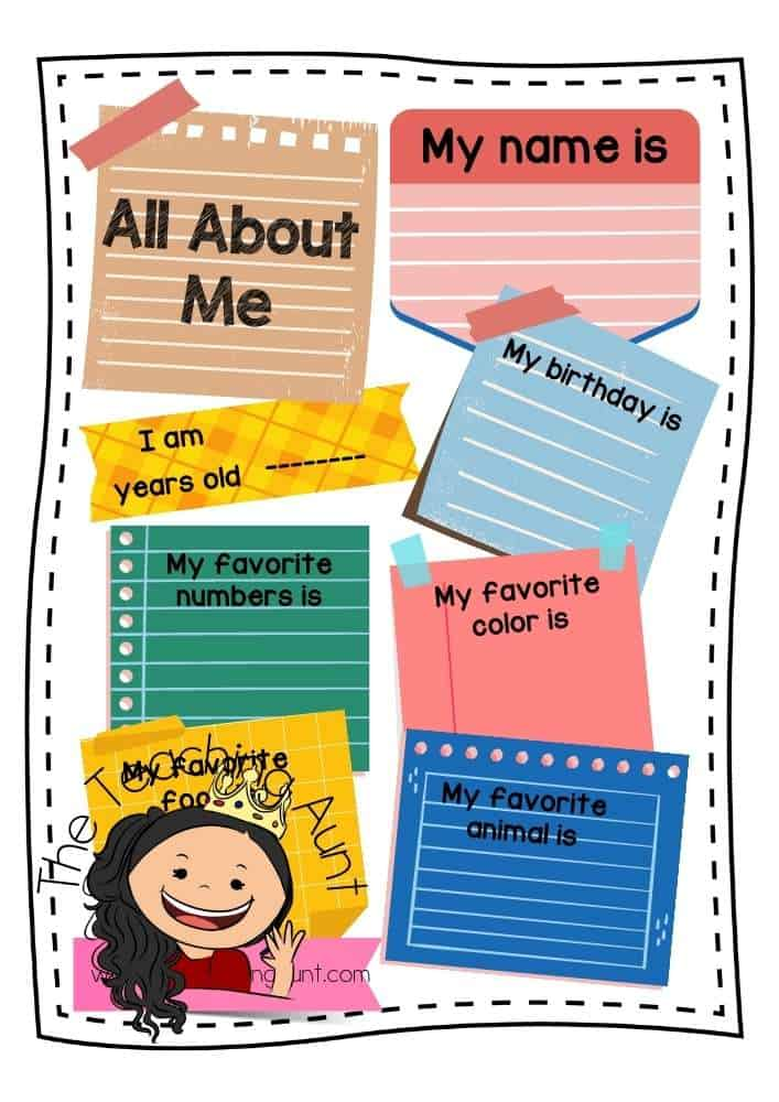 Post its All About Me Worksheets Free Printable from The Teaching Aunt