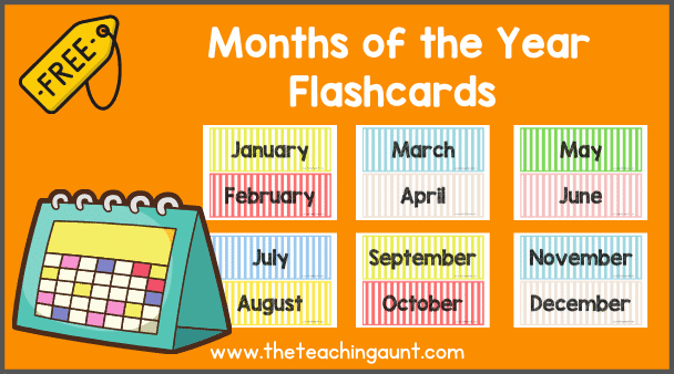 Free Months of the Year Flashcards from The Teaching Aunt