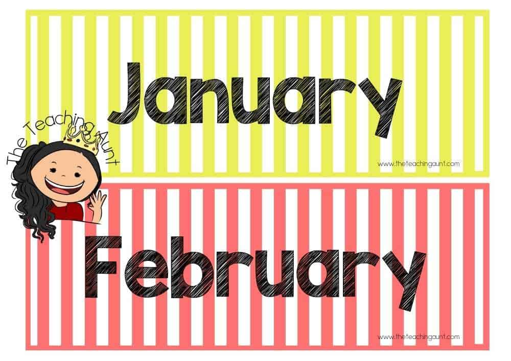 January February Free Months of the Year Flashcards from The Teaching Aunt