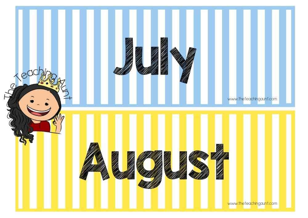 July August Free Months of the Year Flashcards from The Teaching Aunt