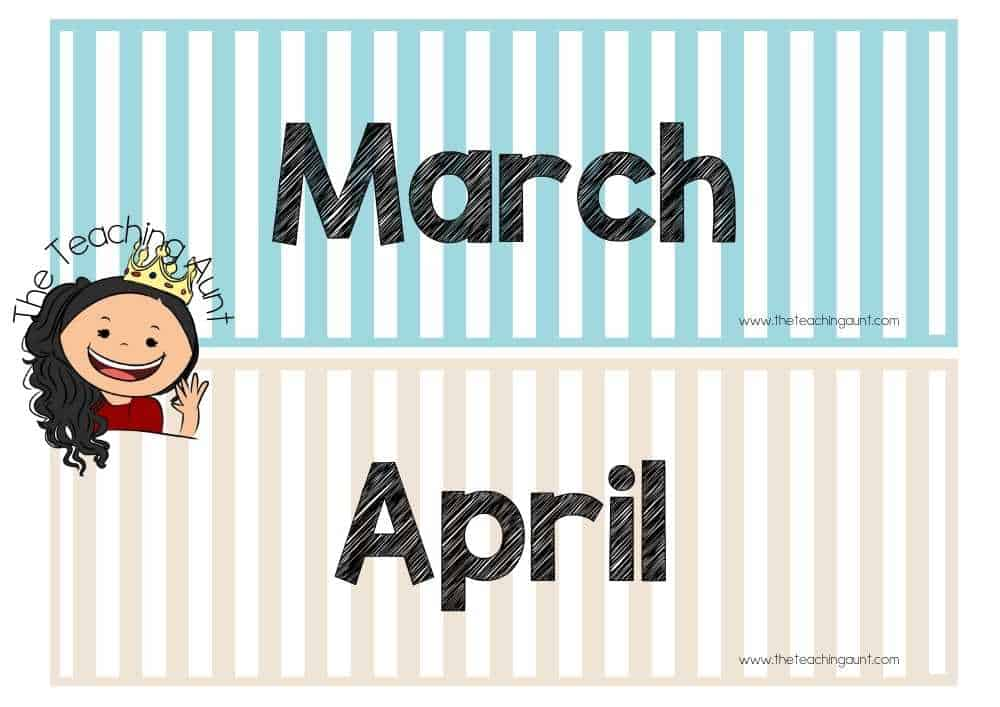 March April Free Months of the Year Flashcards from The Teaching Aunt