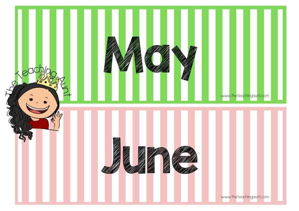 May June Free Months of the Year Flashcards from The Teaching Aunt
