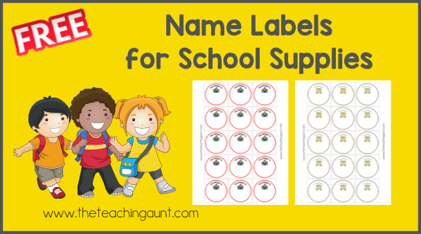 Free Name Label for School Supplies from The Teaching Aunt