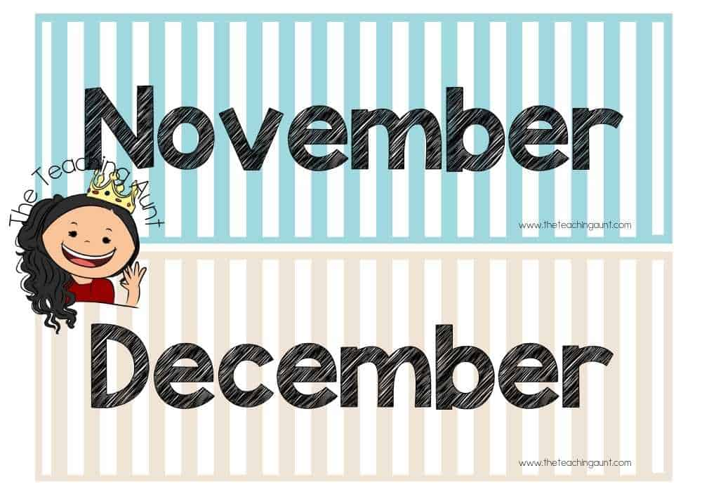 November December Free Months of the Year Flashcards from The Teaching Aunt