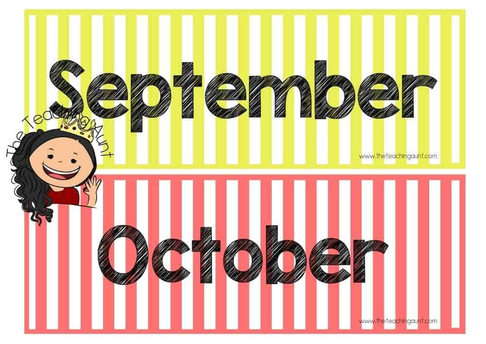 September October Free Months of the Year Flashcards from The Teaching Aunt